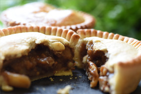 Close up of a meat pie cut open